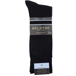 NWT Gold Toe Men's  Watson Wool Dress Sock, 3 Pair
